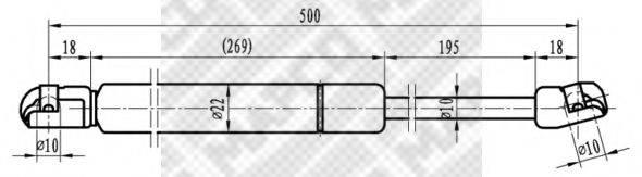 MAPCO 91804 Газовый упор (пружина) багажника