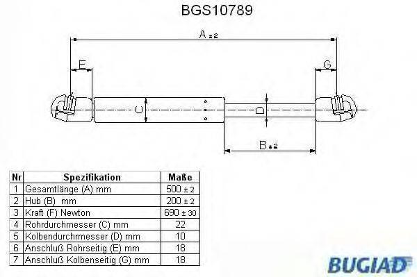 BUGIAD BGS10789 Газовый упор (пружина) багажника