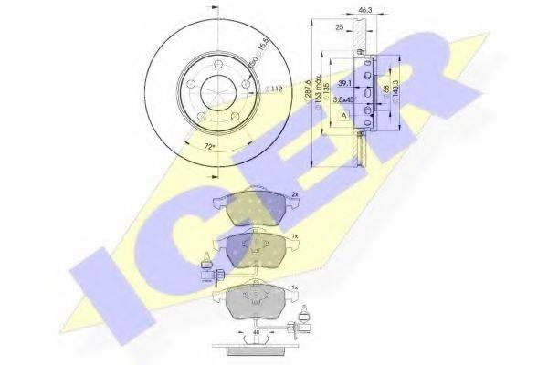 ICER 313624063 Комплект тормозов, дисковый тормозной механизм