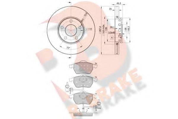 R BRAKE 3R13624063 Комплект тормозов, дисковый тормозной механизм