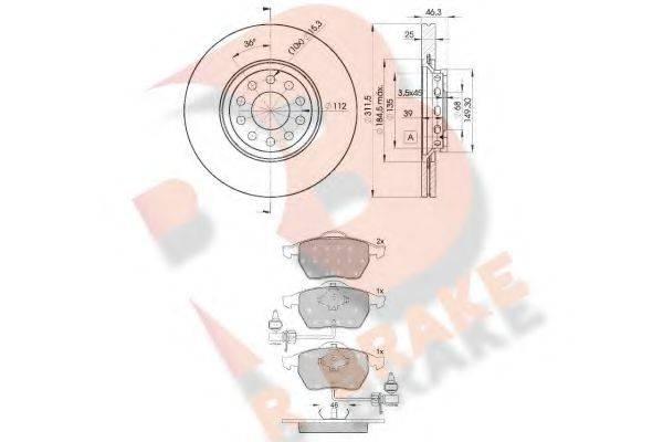 R BRAKE 3R13624065 Комплект тормозов, дисковый тормозной механизм