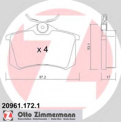 ZIMMERMANN 209611721 Колодки тормозные